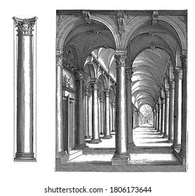 Column of the Corinthian order and a portico, Column of the Corinthian order and a portico with columns of the Corinthian building order, vintage engraving.