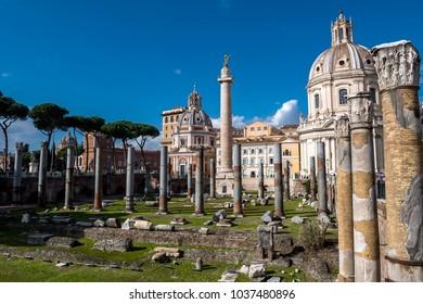 Trajan´s Column at Forum Romanum in Rome in Italy