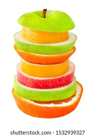 Column fruit slices aple red and green with orange