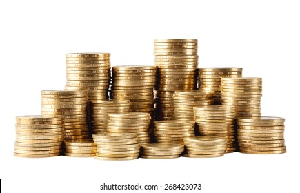 Column of golden coins isolated on white background