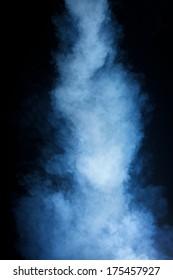 Column of Grey Smoke on Black Background