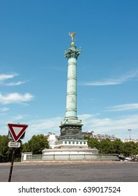 The Column of July and the Genie of Liberty (Paris France). A day without car traffic.