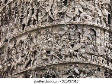 Column of Marcus Aurelius was erected in AD 180 to commemorate his victories over the barbarian tribes of the Danube. The 20 spirals of the low relief chronicle the German and the Sarmatic wars.