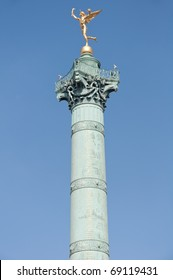 The column and statue at the Place de la Bastille in Paris.