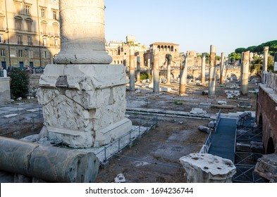 The Column of Trajan is a commemorative monument erected in Rome by order of the Emperor Trajan. It is located in Trajan's Forum, near the Quirinale, north of the Roman Forums. It was built in 113 AD.