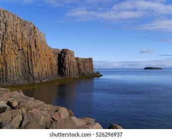 Columnar jointed basalt in Stykkisholmur, Snaefellsnes, Iceland