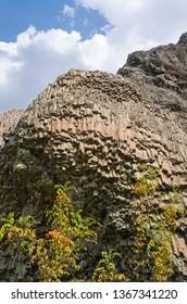Columnar jointed volcanic rocks around Arda River behind the Studen Kladenets (Cold well) dam, Bulgaria