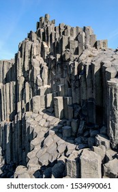 A columnar separation of basalt, gray magma columns naturally formed monument.