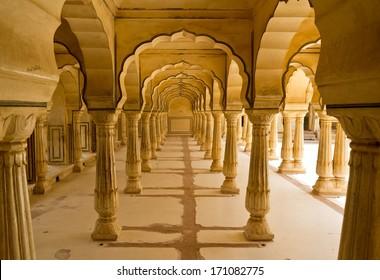 Columns in Amber Fort near Jaipur, Rajasthan, India