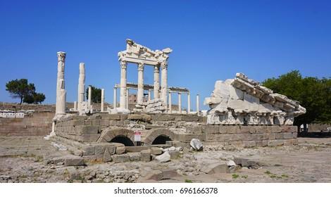 the columns of the ancient city of Pergamon ( Bergama), Turkey