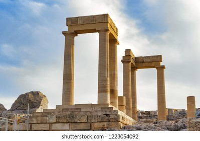 Columns of the ancient Lindos against the evening sky, Rhodes Greece