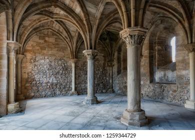 Columns in ancient Romanesque temple