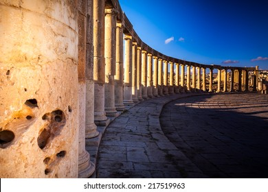 Columns  in Ancient Ruins in the ancient city of Jerash  - Jordan 20.01.2014