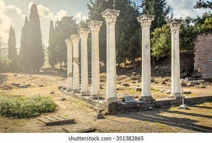 Columns at ancient site of Asclepeion at Kos island in Greece