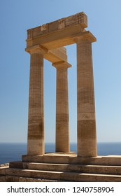 columns of an ancient temple at the Acropolis of Lindos at Rhodes in Greece