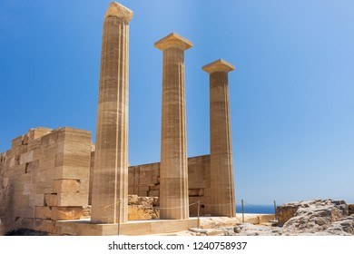 columns of an ancient temple at the Acropolis of Lindos, Rhodes, Greece