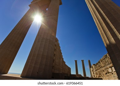 Columns of the ancient temple in Lindos. Rhodes. Greece.