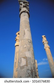 Columns, Apadana, once covered, now open to blue sky,  (capital city of Persian empire, Darius ) Persepolis, Iran, Middle East