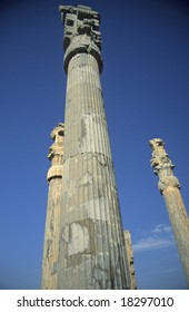 Columns, Apadana, once covered, now open to blue sky,	 [capital city of Persian empire, Darius ]	Persepolis	Iran