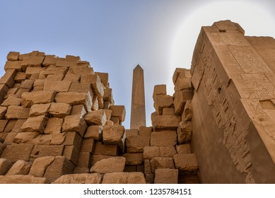 Columns and blue sky in the great hypostyle hall at the temple of Amon-Re in Karnak, Egypt, October 22, 2018
