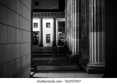 Columns of the Brandenburg Gate close-up. Berlin. Germany. Black and white.