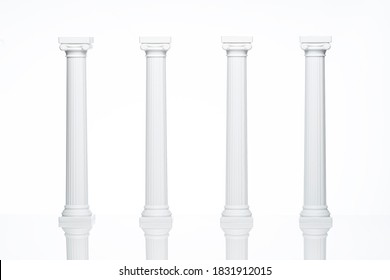 Columns. Classical Greek Ionic Columns Pillars. White on White Background. Architectural White Classical Columns Pillars Wedding Cake Decoration or Wedding Invitations. Classical architectural Pillars