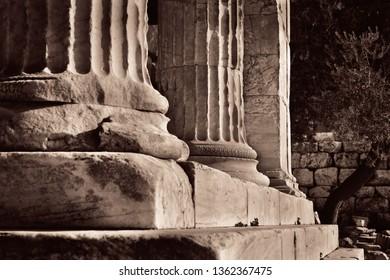 Columns closeup view of Acropolis historical ruins in Athens, Greece.