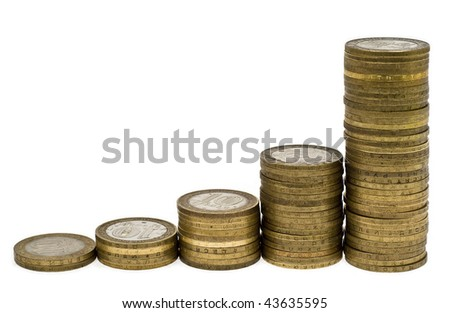 Columns Coins On White Background Stock Photo Edit Now