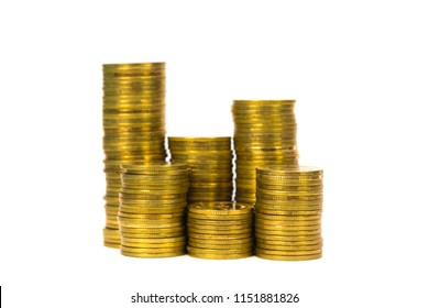 Columns of coins, piles of coins on white background, business and financial concept idea.