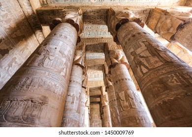 Columns in Denderah Temple, Qena Town, Egypt