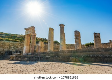 Columns of doric temple in city of Kamiros (island of Rhodes, Greece)