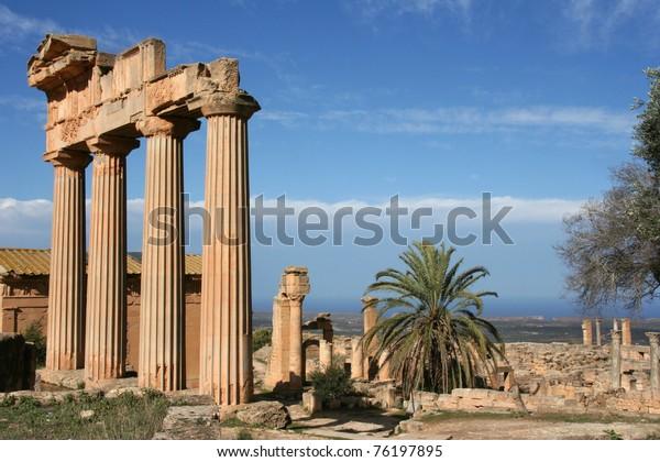 Columns at the entrance of ancient Cyrene Libya