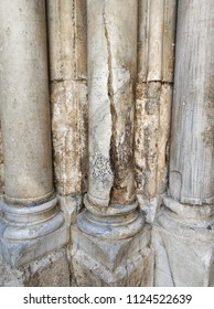 Columns at the entrance to the Church of the Holy Sepulchre is the main pilgrimage destination contains Golgotha and the Tomb of Jesus Christ in Jerusalem, Israel