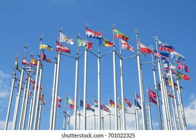 Columns with flags of European countries on the Europe square near the Kiev railway station in Moscow, Russia