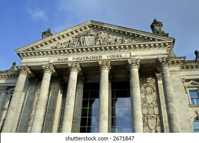 columns in front of the reichstag, berlin, germany
