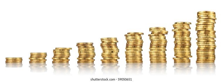 Columns of golden coins isolated on white