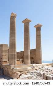 Columns of an historic temple at the Acropolis of Lindos at Rhodes in Greece