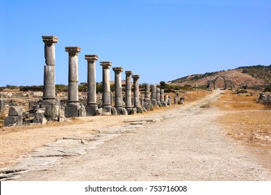 Columns on Decumanus Maximus Street in Volubilis, Roman city near to Meknes, the ancient capital of Mauritania. Morocco, North Africa. UNESCO world heritage site