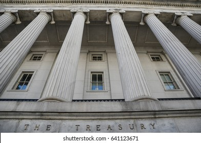 Columns on the U.S. Treasury building in Washington, D.C., May 9, 2017