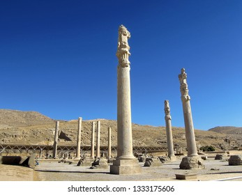 Columns of One Hundred Columns palace, presence chamber of Persian kings in Persepolis, ancient capitol of Persia. It used as place for state receptions of foreign legates. Shiraz, Iran