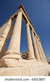 Columns of Parthenon building, Acropolis, Athens, Greece.