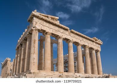 Columns of Parthenon temple in Acropolis, Athens.