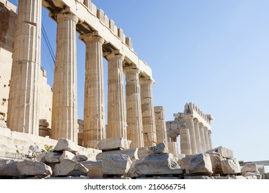 The columns of Parthenon, the temple in the Acropolis of Athens in Athens, Greece.