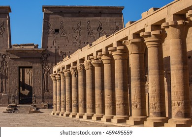 Columns Philae Aswan. The temple complex on the island of Philae in Aswan, Egypt