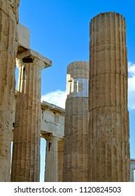 Columns of the Propylea - Monumental Gateway  at the Athens Acropolis