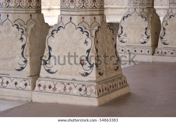 Columns in the Red Fort, Agra UNESCO World Heritage Site