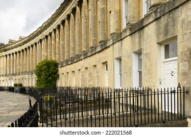 columns at the Royal crescent, Bath foreshortening of curved Georgian classic residential buildings in city center