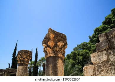 Columns at ruins of Capernaum archaeology site in Israel