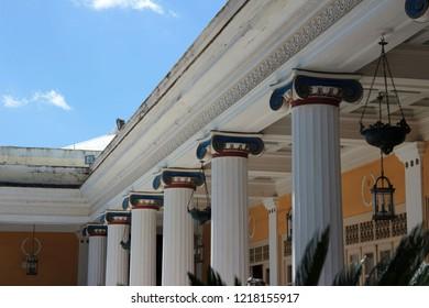 A columns of a Sisi's palace at Corfu, Greece