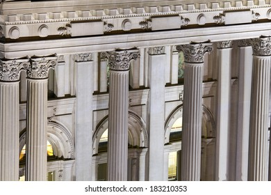 Columns of State Capitol Building in Indianapolis